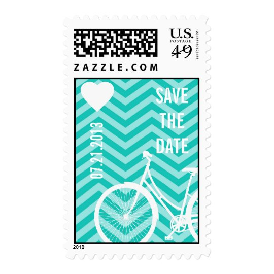 Blue Chevron Trendy Bicycle Hearts Save the Date Postage Stamp