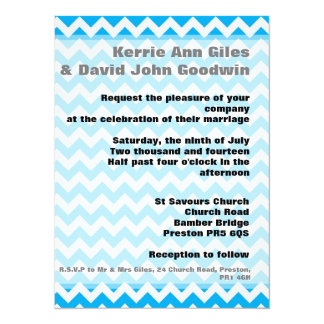 Blue Chevron Wedding Invitations - Bright Blue 14 Cm X 19 Cm Invitation Card