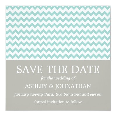 Blue Chevron Wedding Save The Dates Card