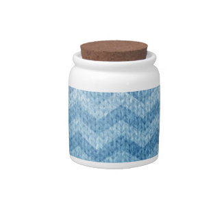 Blue Chevron with Knitted Texture Effect Candy Jar
