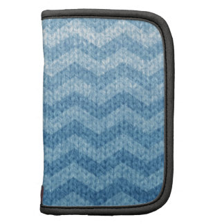 Blue Chevron with Knitted Texture Effect Organizer