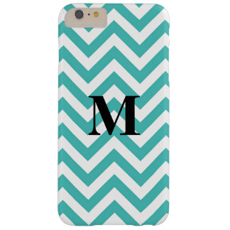 Blue Chevron with Monogram Barely There iPhone 6 Plus Case