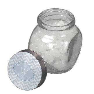 Blue Chevron with Monogram Glass Candy Jar