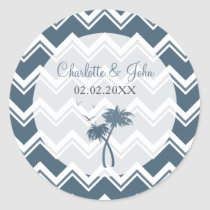 Blue chevron zigzag and Palm Trees Wedding sticker