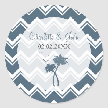 Beach Themed Blue chevron zigzag and Palm Trees Wedding sticker
