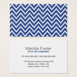 Blue chevron zigzag pattern contemporary personal business card