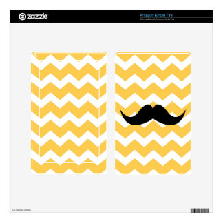 Blue chevron zigzag pattern cute black mustache decal for kindle fire