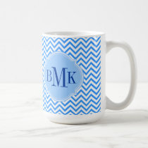 Blue Chevron Zigzag Pattern Monogram Personalized Coffee Mug