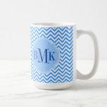 Blue Chevron Zigzag Pattern Monogram Personalized Classic White Coffee Mug
