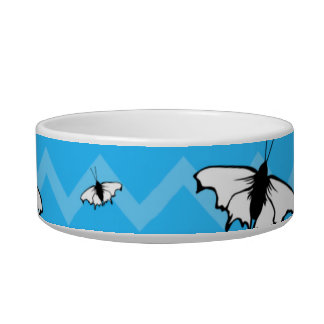 Blue Chevrons and Butterfly Pattern. Pet Food Bowls
