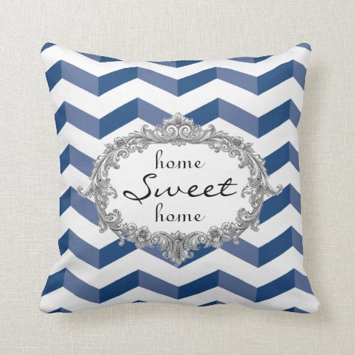 Blue Chevrons Home Sweet Home or Monogram Pillow