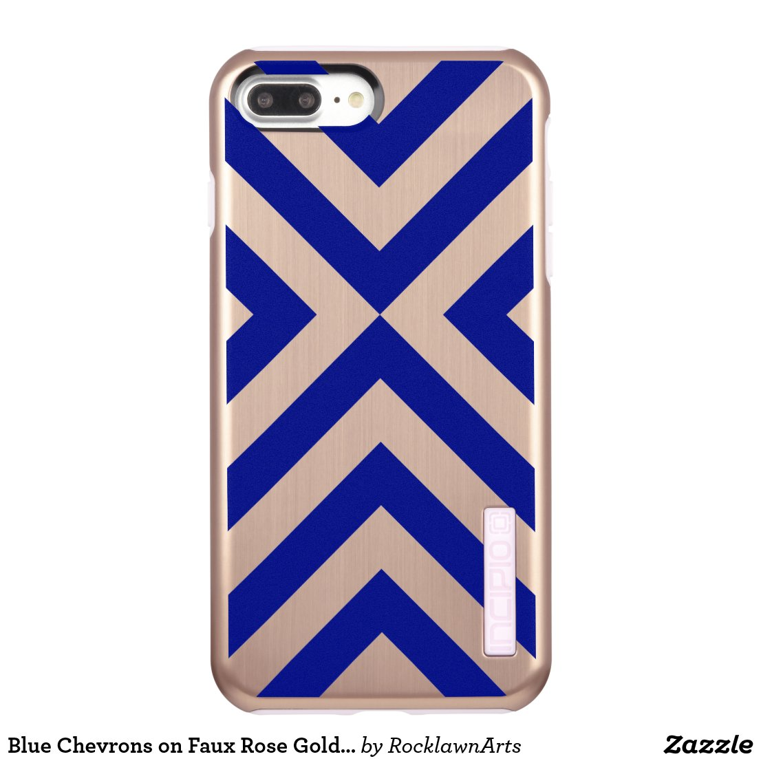 Blue Chevrons on Faux Rose Gold Finish Incipio DualPro Shine iPhone 7 Plus Case