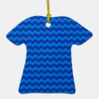 blue chevrons Double-Sided T-Shirt ceramic christmas ornament