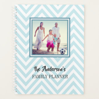 Blue Chevrons Pattern with Photo and Family Name Planner