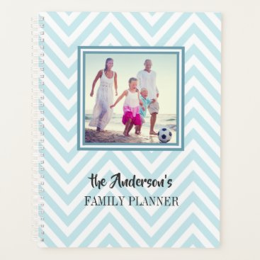 Professional Business Blue Chevrons Pattern with Photo and Family Name Planner