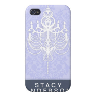 Blue Chic Chandelier Hard Shell Case for iPhone 4