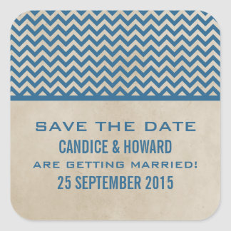 Blue Chic Chevron Save the Date Stickers