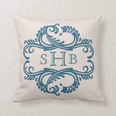 Blue Chic Damask Monogram Pillow