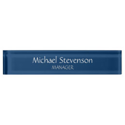 Blue Chic Elegant Modern Desk Nameplate