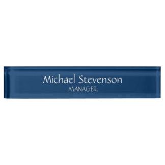Blue Chic Elegant Modern Desk Nameplate