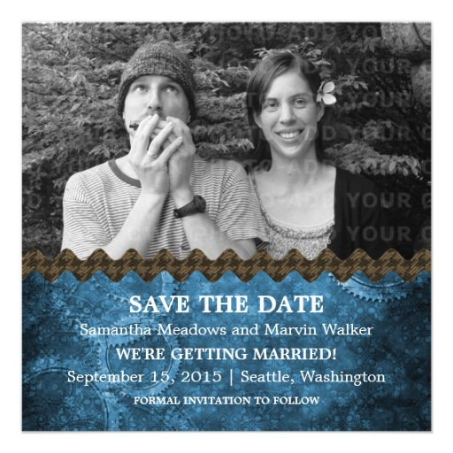 Blue Chic Steampunk Photo Save the Date Invite