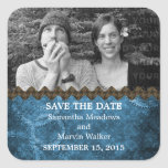 Blue Chic Steampunk Photo Save the Date Stickers