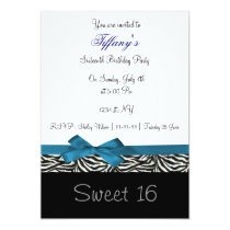 blue chic Sweet Sixteen party Invitation