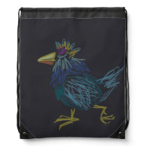 Blue Chicken 1 Rooster that has lost its feathers Drawstring Backpack