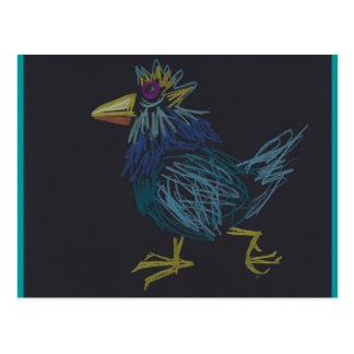 Blue Chicken Happy Easter or Rooster Year Postcard