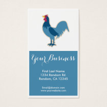 Blue chicken rooster customizable business cards
