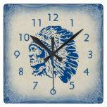 Blue Chief Silhouette Wall Clock