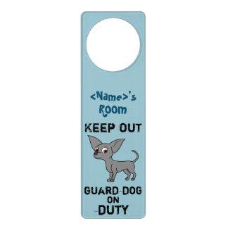 Blue Chihuahua Guard Dog on Duty Door Knob Hangers