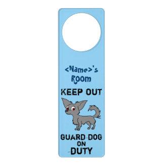 Blue Chihuahua Guard Dog on Duty Door Hangers