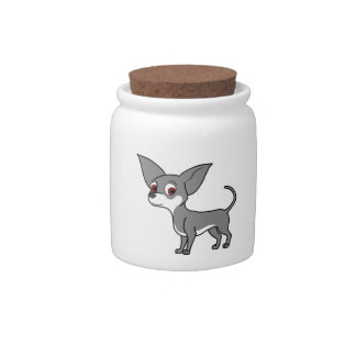 Blue Chihuahua with White Markings Candy Jar