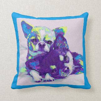 blue chihuahuas pillow