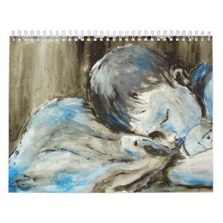 Blue Child Sleeping Calendar