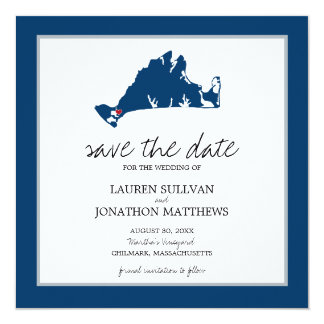 Blue Chilmark Martha's Vineyard Save the Date Card