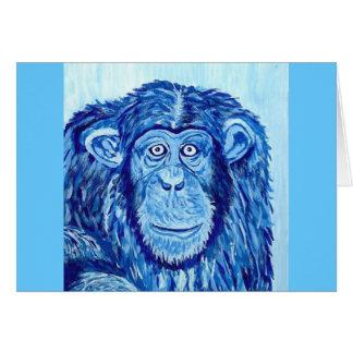 Blue Chimpanzee monkey funny animal Card