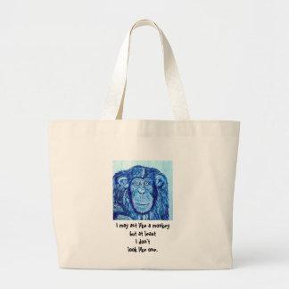 Blue Chimpanzee monkey funny animal Large Tote Bag