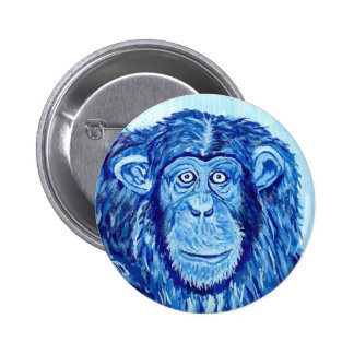 Blue Chimpanzee monkey funny animal Pinback Button