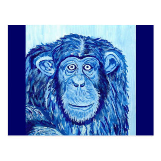 Blue Chimpanzee monkey funny animal Postcard