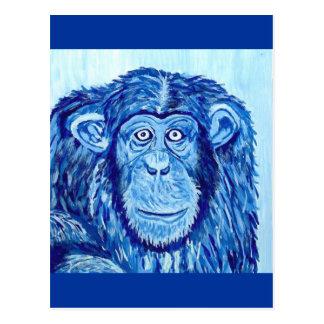 Blue Chimpanzee monkey funny animal Postcard