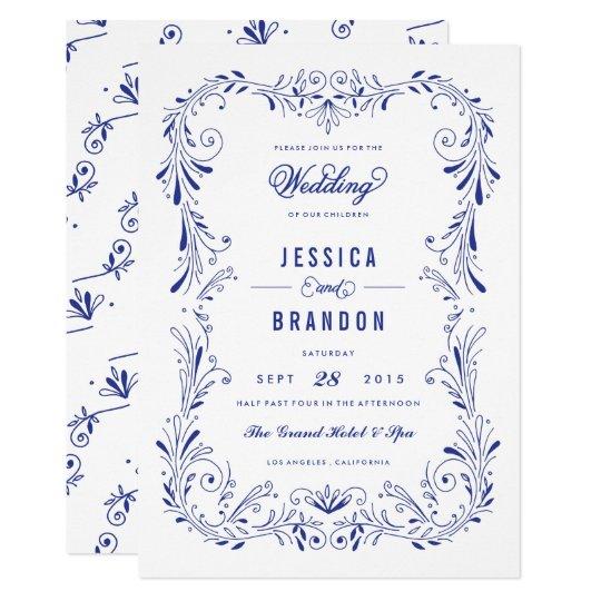 Blue China Hand-Drawn Foliage Wedding Invitation | Zazzle.com