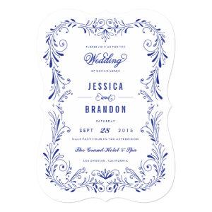Blue China Hand-Drawn Foliage Wedding Invitation 5