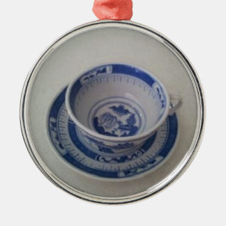 Blue China Tea Cup on Saucer Christmas Tree Ornaments