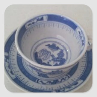 Blue China Tea Cup on Saucer Square Sticker