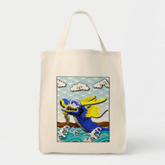 Blue Chinese Dragon Grocery Tote Bag