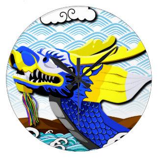Blue Chinese Dragon - Large Clock