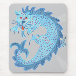 Blue Chinese Dragon Mouse Pad