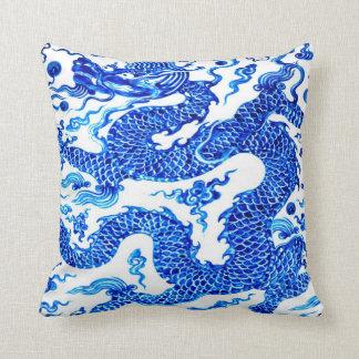 Blue Chinese Dragon Vintage Illustration Art Throw Pillow